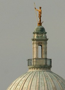 The Independent Man stands atop the RI State House