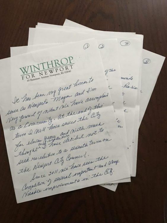 Mayor Harry Winthrop letter