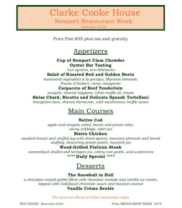 Clarke Cooke House Newport Restaurant Week Menu
