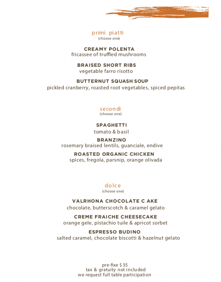 Scarpetta Newport Restaurant Week Menu