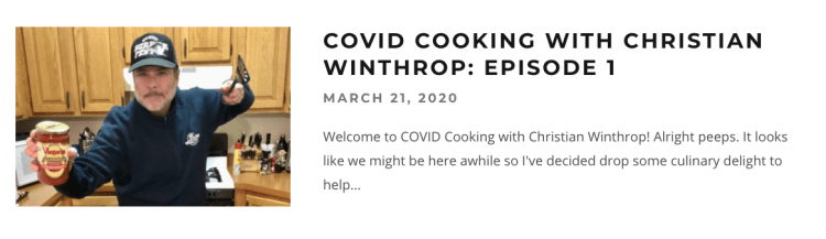 Christian Winthrop COVOID Cooking