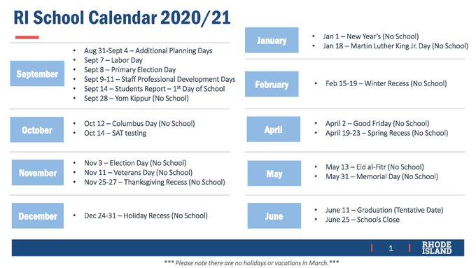 Rhode Island 2020 School Calendar
