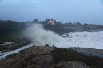 Newport RI Big Waves Storm