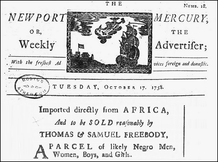 Newport Mercury 1758 - Middle Passage Port