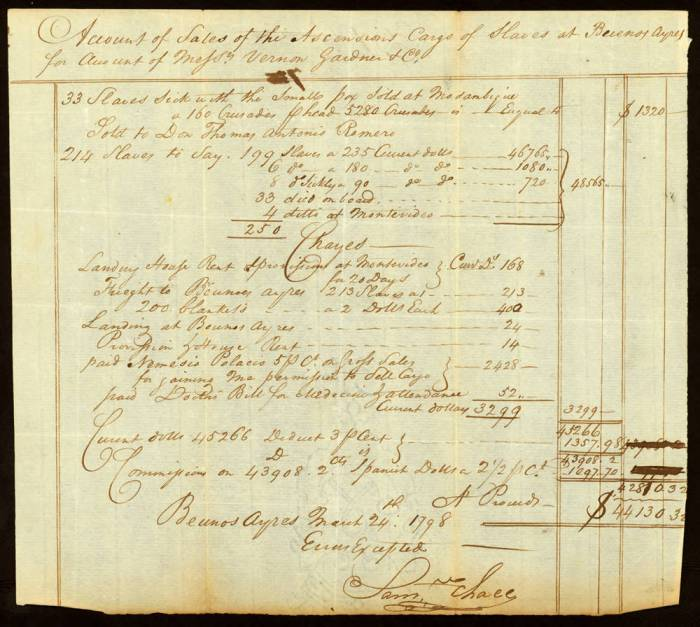 On one voyage, Gardner and Vernon sold 214 slaves for $48,565, which had a value equivalent to $13.4 million today