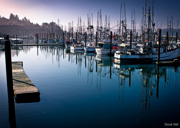 Newport's fishing fleet and the Embarcadero Resort in the background