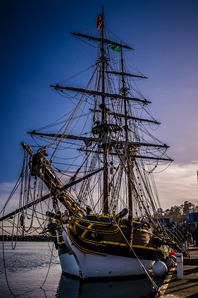 The Lady Washington is tied up in Yaquina Bay, Oregon