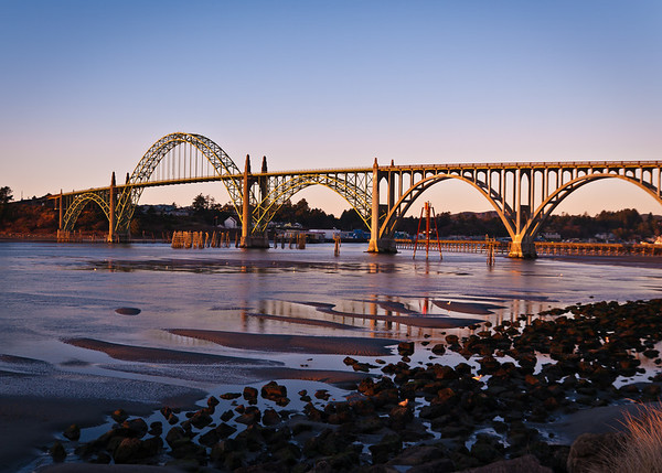 Yaquina Bay Bridge near sunset