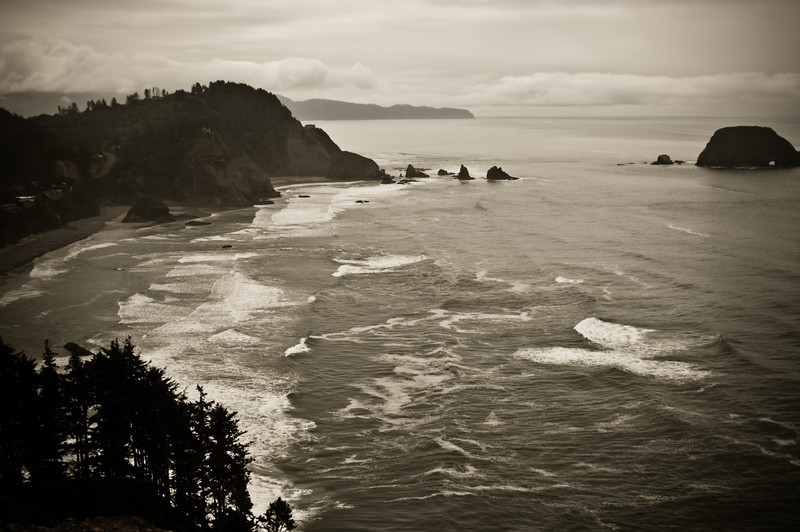 The view looking south from near the Cape Meares Lighthouse