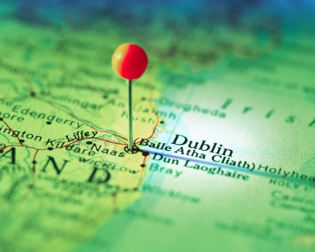 Dublin Marked on Map