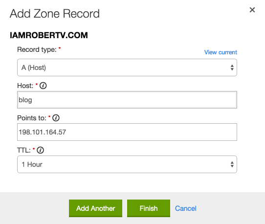 Sample DNS Entry/Edit Box