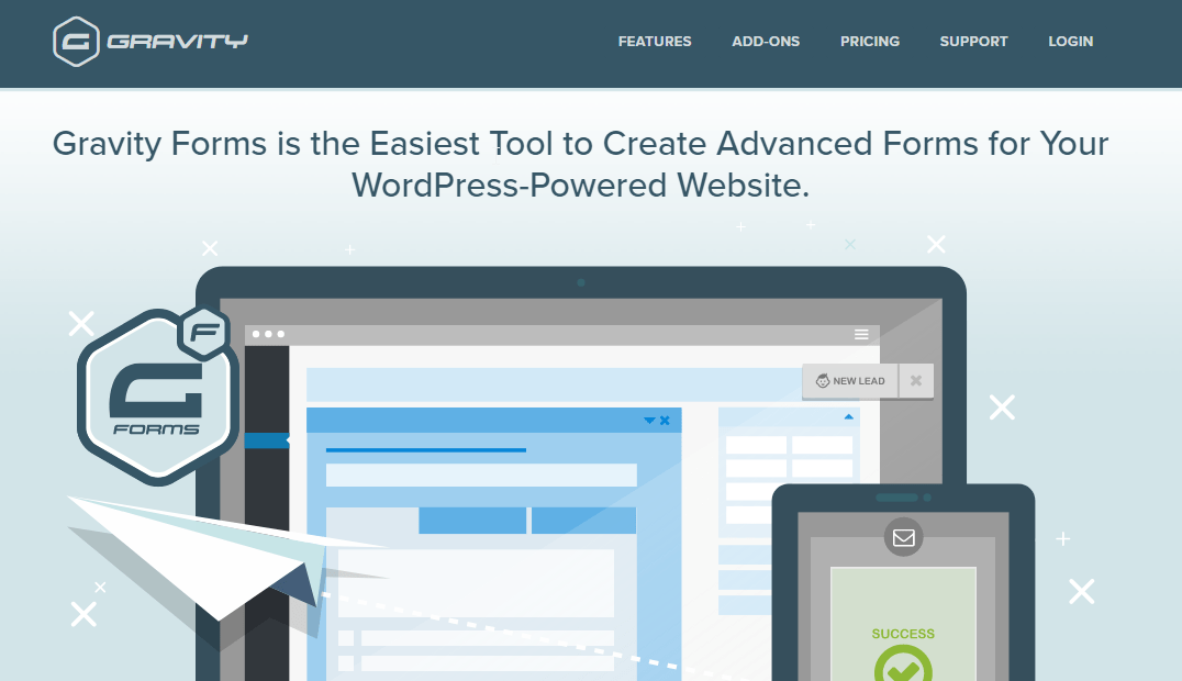 A depiction of Gravity Forms, the easiest tool to create advanced forms for your WordPress-powered website.