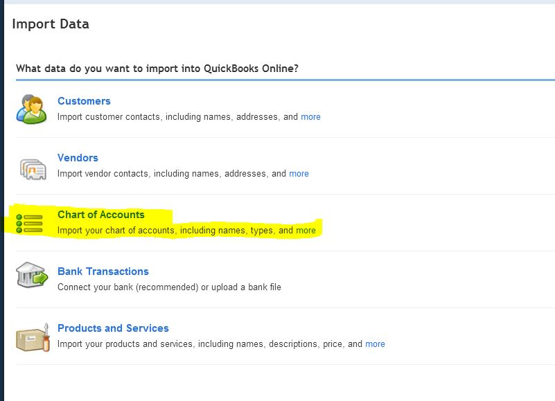 How to import Chart of Accounts in new QuickBooks Online