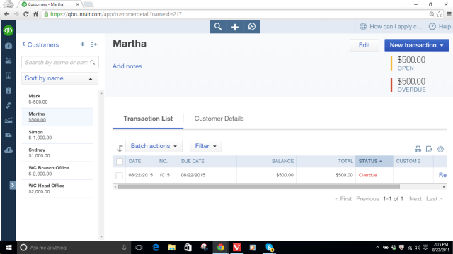 Customer Martha's Account with $500 Open Invoice