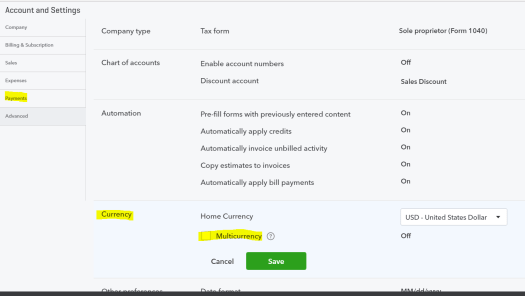 Multicurrency feature available in QuickBooks Essentials and QuickBooks Plus.