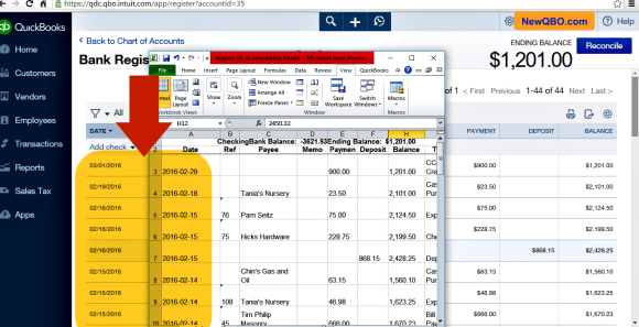 bank register download to excel date issue