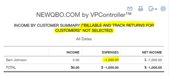 income by customer summary without billable track returns from customers