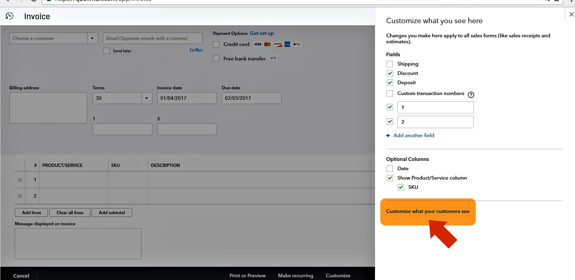 How to add account summary on an invoice – NEWQBO.COM