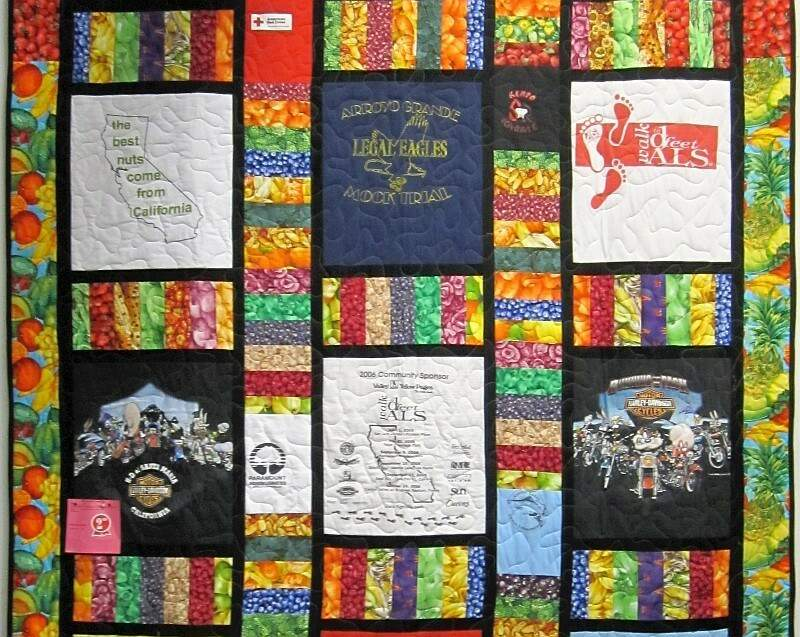 T-shirt quilt with strip sashing