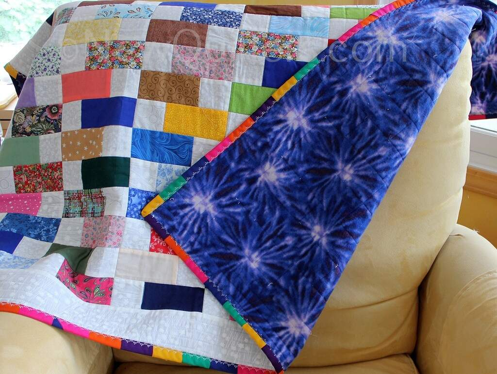 Photo of baby quilt with polar fleece backing