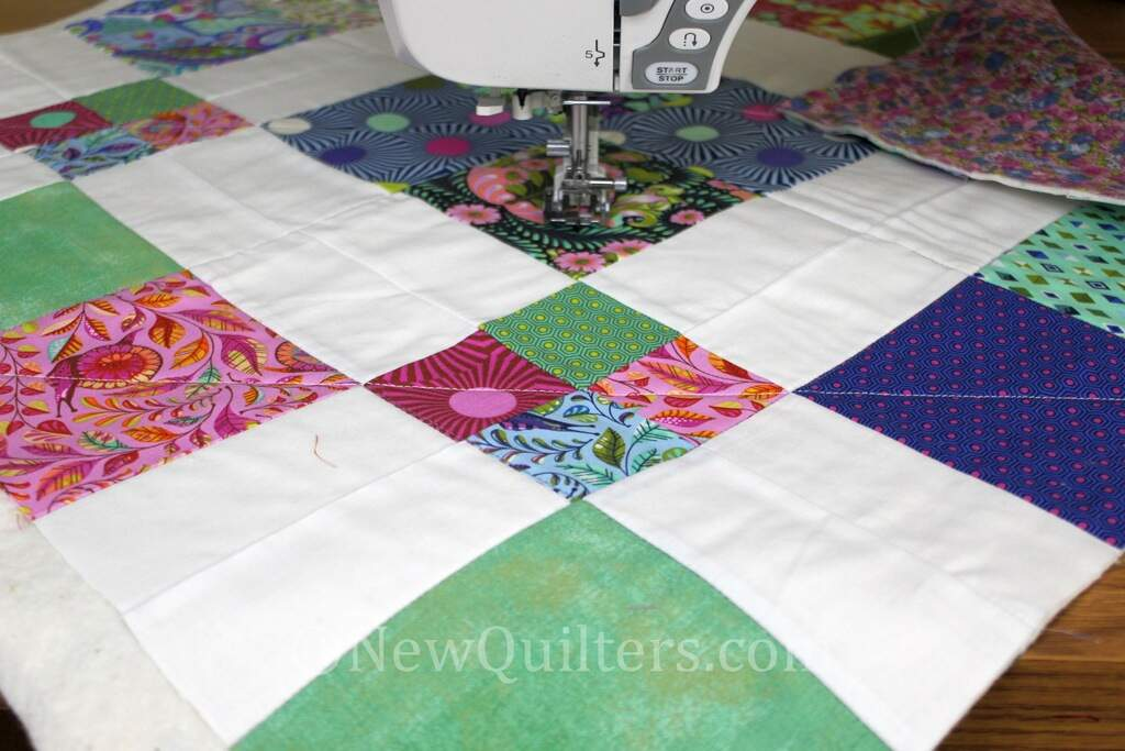 Photo showing straight-line quilting