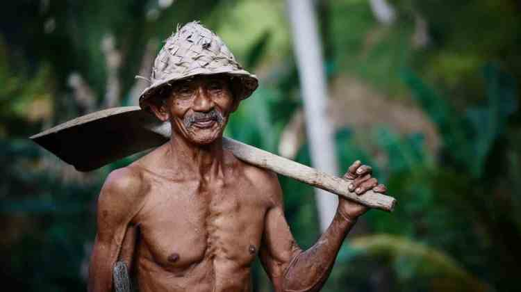 Old Asian Man working hard