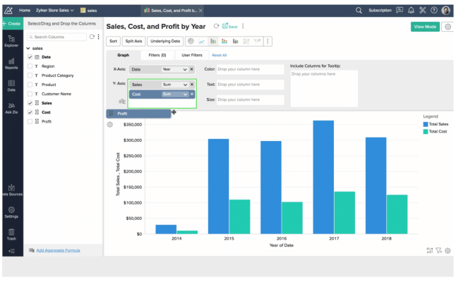 Here's an example of Zoho CRM, comes with analytics features such as the ability to create reports just by dragging and dropping in data sets.