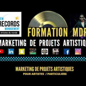 Cette Image représente la formation Marketing de projets artistiques créée par New Records management. Formation avvessible aux artistes et aux particuliers.