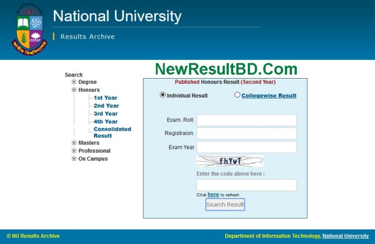 Honours Second Exam Year Result For National University