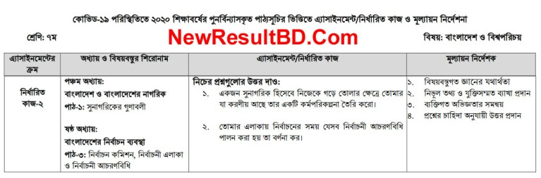 Class 7 4th Week Bangladesh & Global Identity Assignment Syllabus