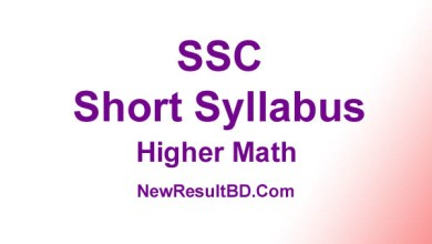 SSC Higher Math New Short Syllabus 2021 (এসএসসি উচ্চতর গণিত সিলেবাস)