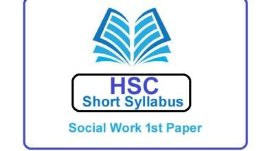 HSC Social Work 1st Paper New Short Syllabus 2021 (এইচএসসি সমাজকর্ম ১ম পত্র সিলেবাস)