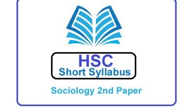 HSC Sociology 2nd Paper New Short Syllabus 2021 (এইচএসসি সমাজবিজ্ঞান ২য় পত্র সিলেবাস)