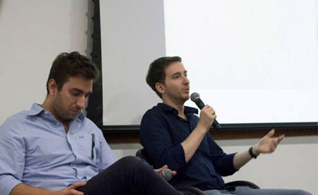 (Christian e Marcelo explicam case aos alunos).