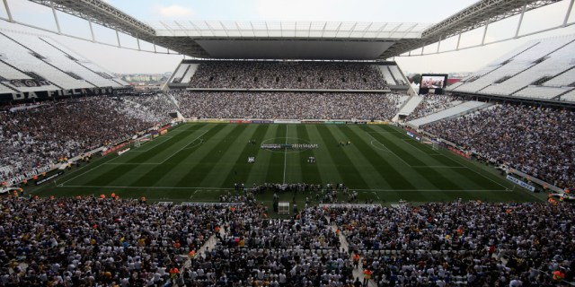 SAO PAULO, BRAZIL - MAY 18: A general view of the match between Corinthians and Figueirense for the Brazilian Series A 2014 at Arena Corinthians on May 18, 2014 in Sao Paulo, Brazil. (Photo by Friedemann Vogel/Getty Images)