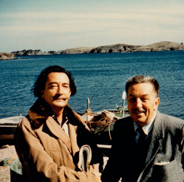 8.-Salvador-Dalí-and-Walt-Disney-by-the-beach-in-Spain-1957
