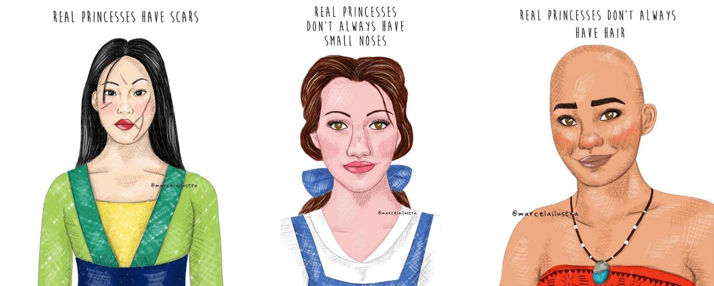 Ilustradora brasileira mostra como é uma verdadeira princesa