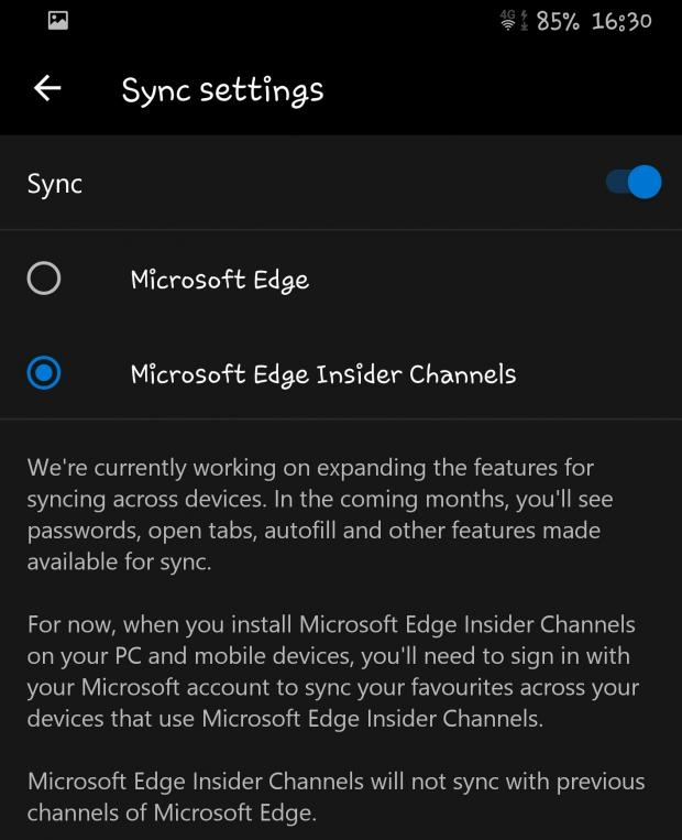 Chromium Microsoft Edge to Get Android Sync Features