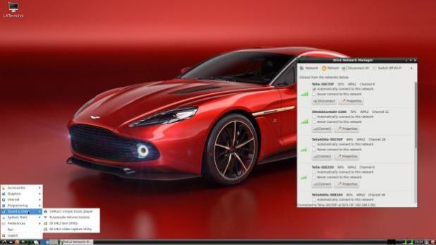 RaspArch's desktop – Wicd running