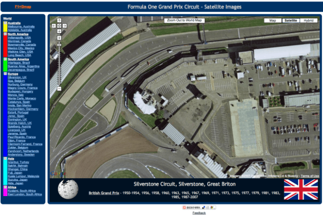 Formula One Circuits Live on Google Maps Silverstone