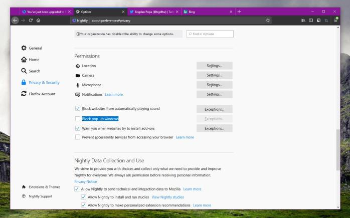 Mozilla Firefox Nightly with sound blocking option