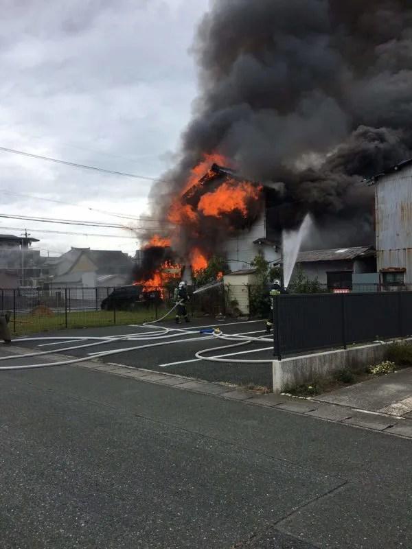 静岡県浜松市中区天神町付近で火事