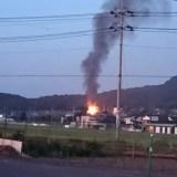 LIXIL筑波工場付近で火事