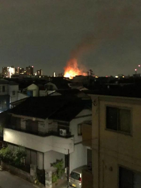 東京都北区赤羽付近で火事