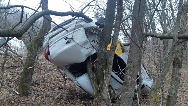 Такси с пассажирами перевернулось и повисло на дереве на Ставрополье