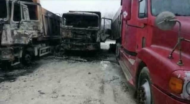 7 грузовиков сгорело в результате поджога на стоянке вблизи Новороссийска