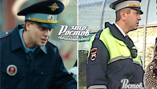 Двойника комика Светлакова в одежде инспектора ДПС заметили в Ростове
