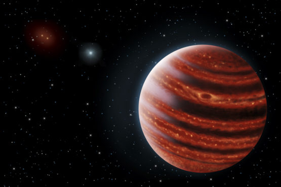 The conception of the artist describes the exoplanet 51 Eri b seen in the near infrared light, which shows the warm layers in its incandescent atmosphere through the clouds.