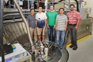 Physicists Huibo Cao, Bin Gao, Gabriele Sala, Feng Ye and Matt Stone at the CORELLI beamline of ORNL's Spallation Neutron Source