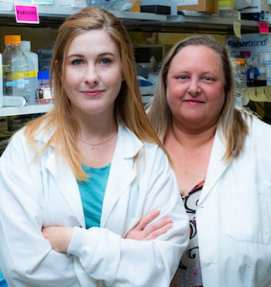Rice University graduate student Madeline Monroe, left, and bioengineer Jane Grande-Allen led a project to use layered filter paper to mimic aortic heart valves. The technique revealed that a natural collagen appears to have a strong association with calcification when it is found outside its usual domain. (Credit: Jeff Fitlow/Rice University)